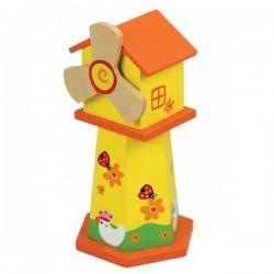 Boîte à musique tirelire moulin jaune en bois 21 cm