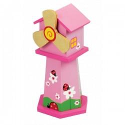 Boîte à musique tirelire moulin rose en bois 21 cm