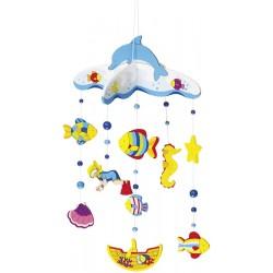Mobilé bébé en bois océan 40 cm à suspendre