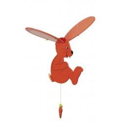Mobile bébé en bois lapin volant orange 34 cm à suspendre