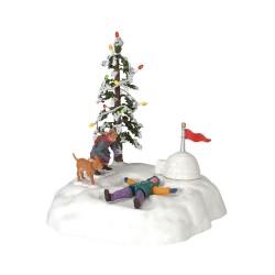 Scène animée lumineuse Ailes d'ange dans la neige Lemax Vail Village