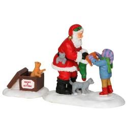 Lemax figurine Père Noël avec des chats