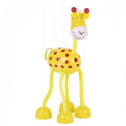 Marionnette à fil girafe en bois jaune 27 cm