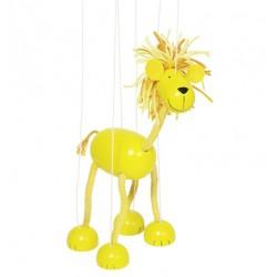 Marionnette à fil lion en bois jaune 26 cm