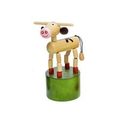 Figurine articulée animal en bois vache beige 10 cm