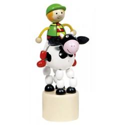 Figurine articulée cavalier en bois vache 13 cm