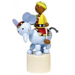 Figurine articulée cavalier en bois éléphant 13 cm