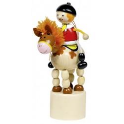 Figurine articulée cavalier en bois cheval 13 cm