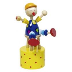 Figurine articulée clown en bois jaune 12 cm