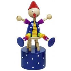 Figurine articulée clown en bois bleu 12 cm