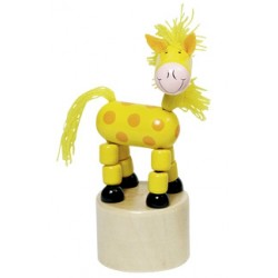Figurine articulée cheval en bois jaune 11 cm