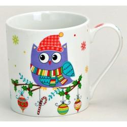Tasse hibou violet hiver porcelaine 30 cl