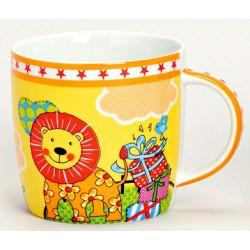 Tasse lion orange porcelaine 20 cl