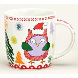 Tasse hibou violet Noël porcelaine 30 cl