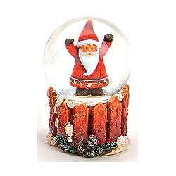 Boule à neige Père Noël barrière en bois résine 6,5 cm