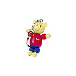 Porte-clés articulé en bois ours 5 cm