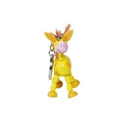 Porte-clés articulé en bois cheval jaune 6 cm