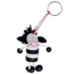 Porte-clés en bois rayé zèbre 8 cm