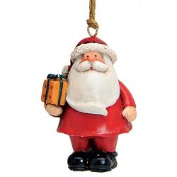 Suspension sapin Père Noël cadeau résine 7 cm