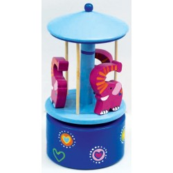 Manège en bois éléphants rose bleu 15 cm