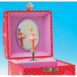 Boîte à bijoux musicale rouge carrée avec ballerine 10,5 cm