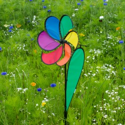 Girouette éolienne fleur arc en ciel 100 cm