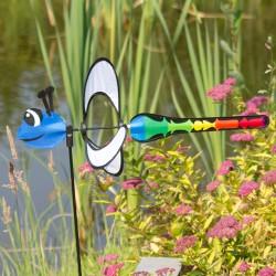 Girouette éolienne libellule arc en ciel 85 cm