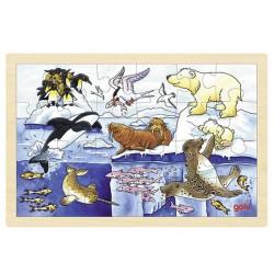 Puzzle enfant en bois animaux polaires 24 pièces