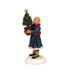 Enfant avec un petit sapin de Noël Lemax Caddington