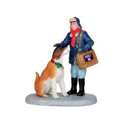 Rencontre entre un facteur et un gentil chien Lemax