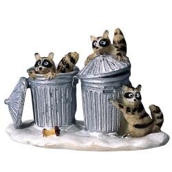 Raton Laveurs fouillant les poubelles Lemax