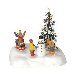 Scène animée lumineuse jeux dans la neige Lemax Vail Village