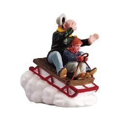 Lemax figurine Enfant et papy sur luge