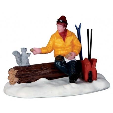 Lemax figurine Skieur et écureuil