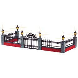 Lemax Lighted Wrought Iron Fence, Set Of 5