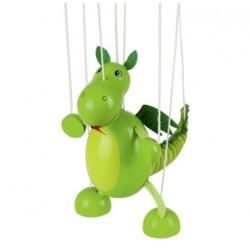 Marionnette à fil dinosaure en bois vert 16 cm