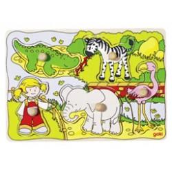 Puzzle enfant en bois zoo 5 pièces