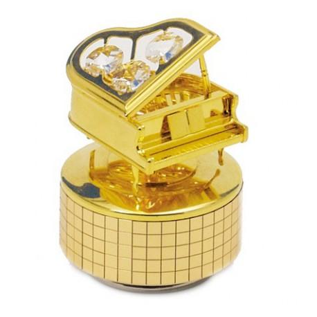Boîte à musique piano à queue doré avec cristaux de verre 9 cm