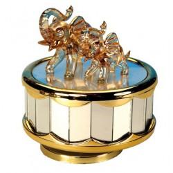 Boîte à musique dorée éléphants en verre 9,5 cm