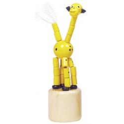 Figurine articulée en bois girafe jaune 8 cm