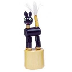 Figurine articulée en bois chat noir 8 cm