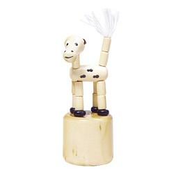 Figurine articulée en bois chien beige 8 cm