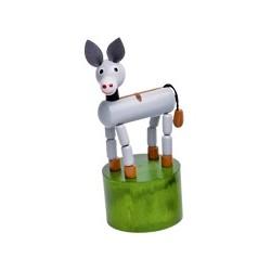 Figurine articulée animal en bois âne gris 10 cm