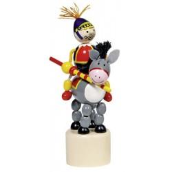Figurine articulée cavalier en bois âne 13 cm