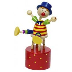 Figurine articulée clown en bois rouge 12 cm