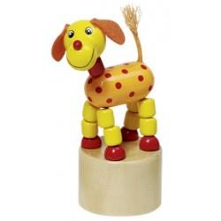 Figurine articulée chien en bois jaune 11 cm