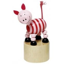 Figurine articulée cochon en bois jaune 11 cm