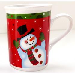 Tasse Noël Bonhomme de neige vert rouge céramique 20 cl