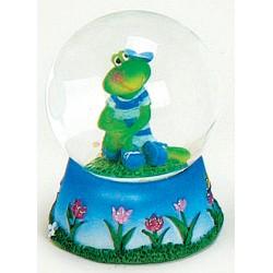 Boule à neige grenouille garçon bleu résine 6 cm