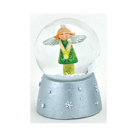 Boule à neige Ange vert résine 6 cm